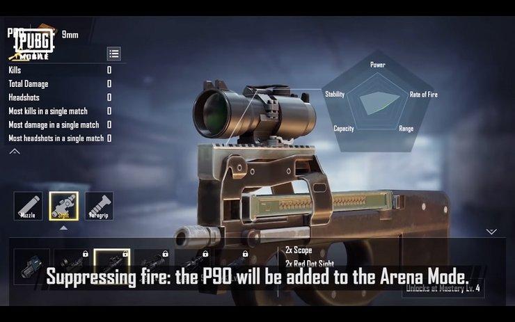 نقد و بررسی اسلحه p90 pubg mobile