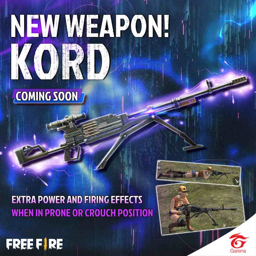 معرفی کامل اسلحه kord در بازی فری فایر